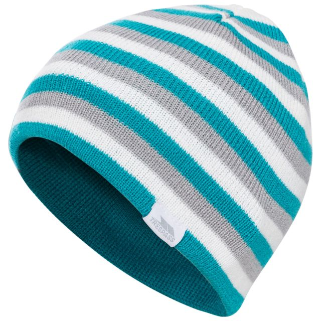 Reagan Kids' Reversible Beanie Hat in Blue, Hat at angled view
