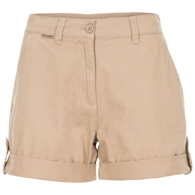 Rectify Women's Breathable Cotton Shorts in Beige, Front view on mannequin