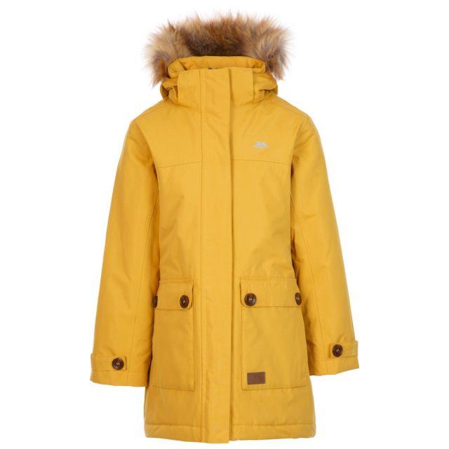 Trespass Kids' Waterproof Jacket Rhoda Yellow, Front view on mannequin