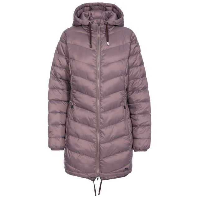 Rianna Women's Padded Casual Jacket in Light Purple, Front view on mannequin