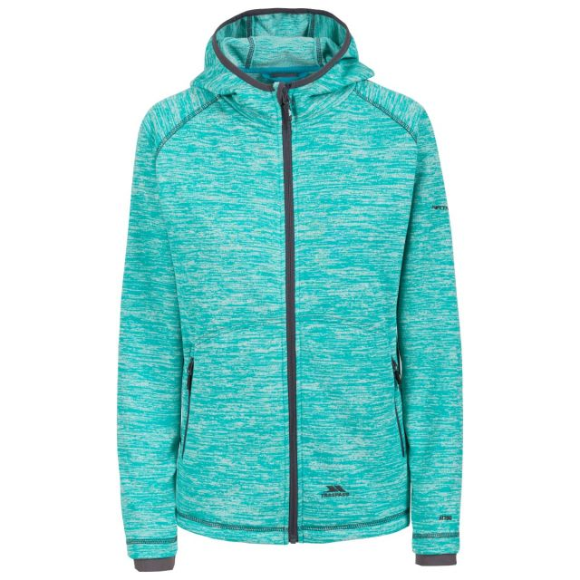 Riverstone B Women's Fleece in Turquoise, Front view on mannequin