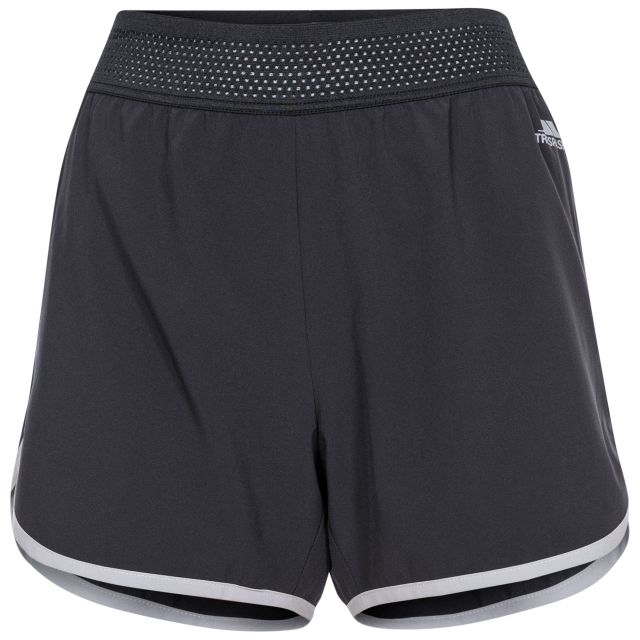 Sadie Women's Active Shorts in Black, Front view on mannequin