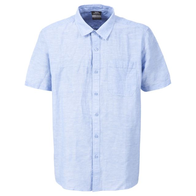 Saratov Men's Short Sleeve Cotton Shirt in Light Blue