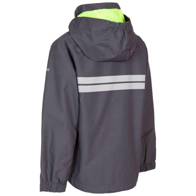 Trespass Kids Waterproof Detachable Hood Jacket in Carbon Shinye