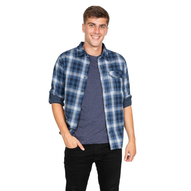 Shougle Men's Checked Cotton Shirt in Navy