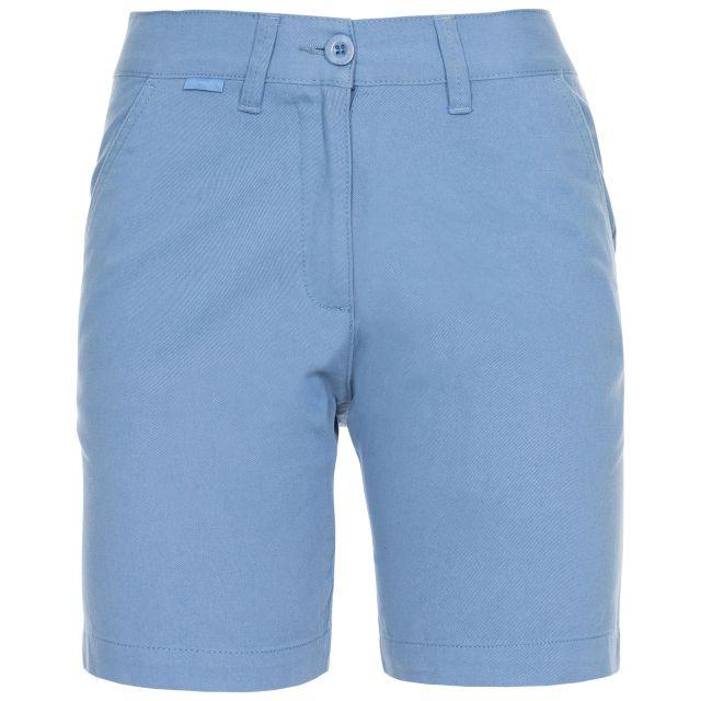 Sinitta Women's Cotton Shorts in Blue, Front view on mannequin