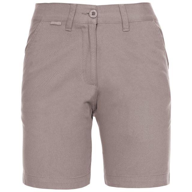Sinitta Women's Cotton Shorts in Grey, Front view on mannequin