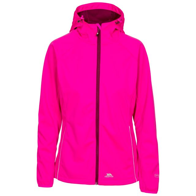 Sisely Women's Hooded Softshell Jacket in Pink, Front view on mannequin