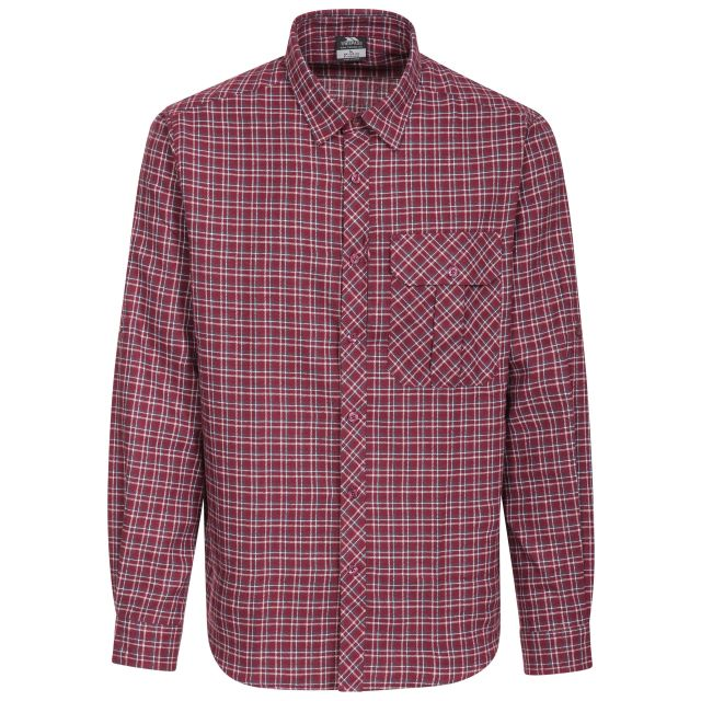 Snyper Men's Checked Shirt in Red, Front view on mannequin