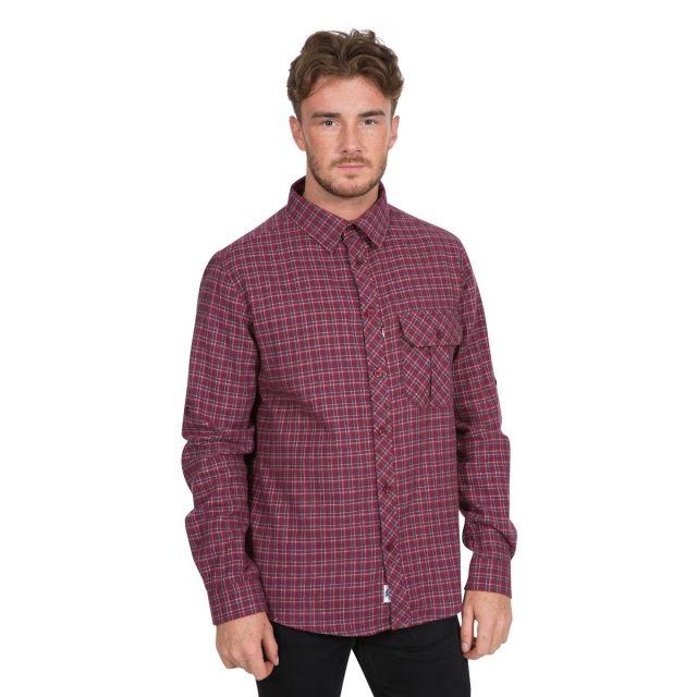 Snyper P Men's Long Sleeved Checked Shirt in Red
