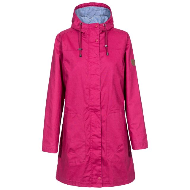 Sprinkled Women's Waterproof Jacket in Pink, Front view on mannequin