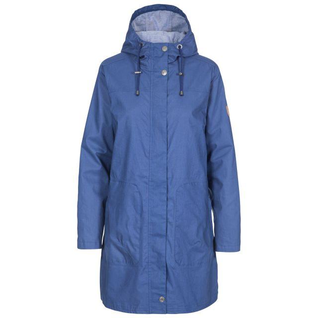 Sprinkled Women's Waterproof Jacket in Navy, Front view on mannequin