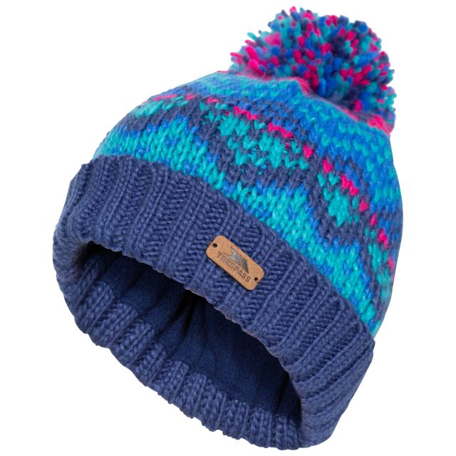 Sprouse Kids' Patterned Bobble Hat in Navy
