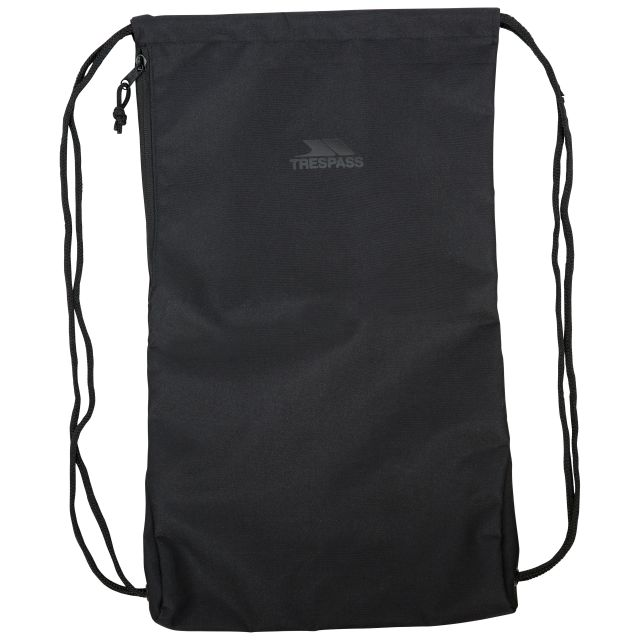 Trespass Drawstring Bag Black with Side Pocket Stape, Front view