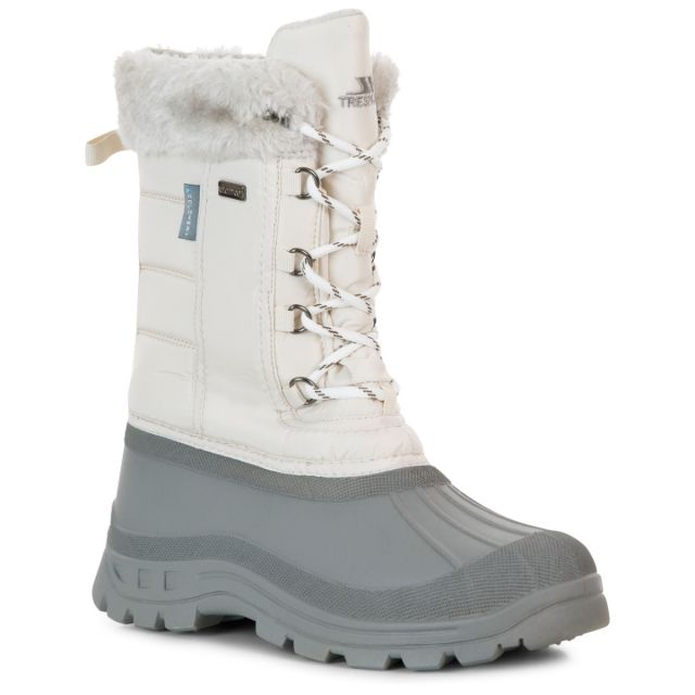 Stavra II Women's Fleece Lined Snow Boots in Cream, Angled view of footwear