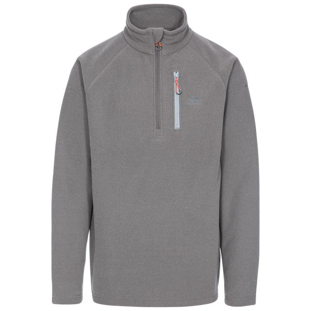 Structual Men's 1/2 Zip Fleece in Grey, Front view on mannequin