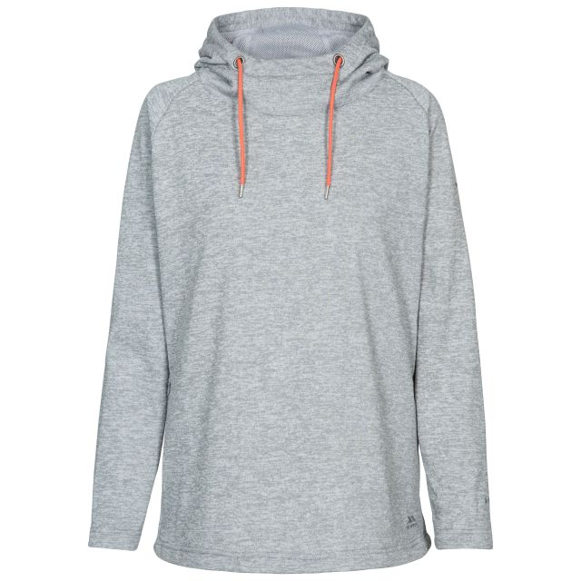 Stumble Women's Hooded Jumper in Light Grey, Front view on mannequin