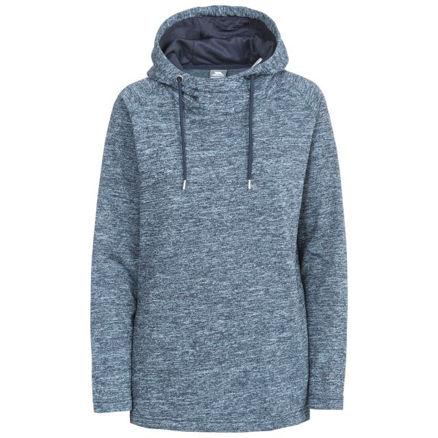 Stumble Women's Hooded Jumper in Navy, Front view on mannequin