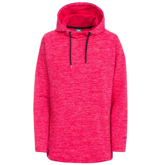 Stumble Women's Hooded Jumper in Pink, Front view on mannequin