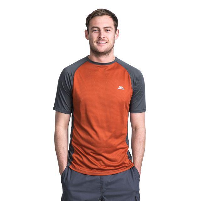 Talca Men's Quick Dry Active T-Shirt in Orange, Front view on model