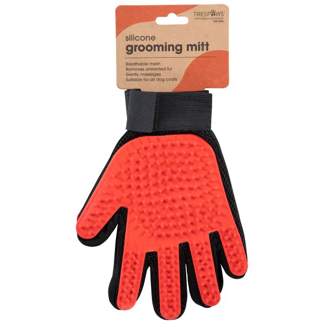 Teddy Dog Grooming Mitts in Red, Front view