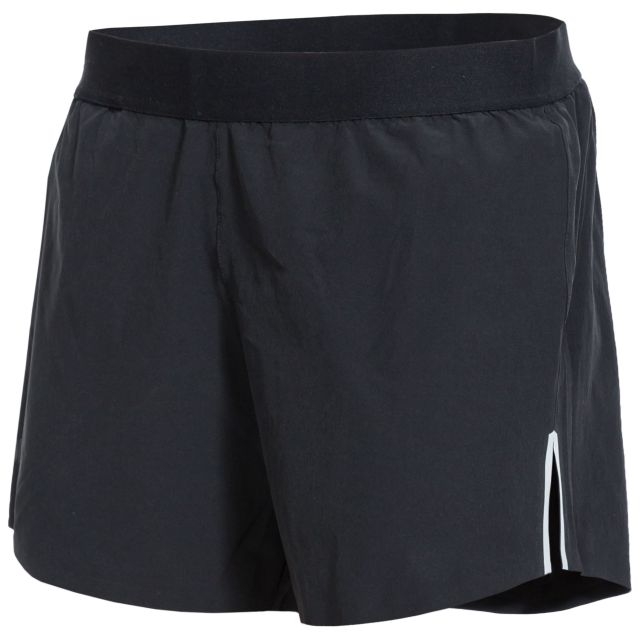 Tempos Women's DLX Quick Dry Track Shorts in Black, Front view on mannequin