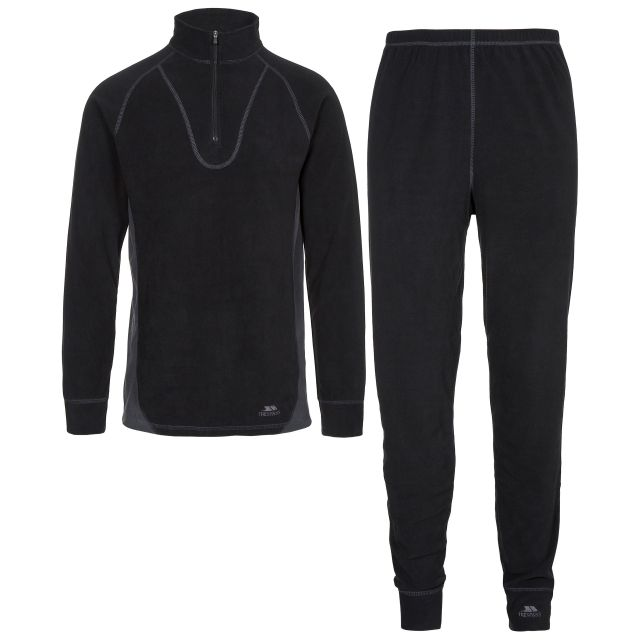 Thriller Adults' Thermal Set in Black, Front view on mannequin