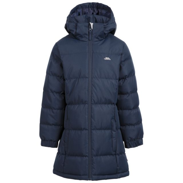 Trespass Kids Padded Jacket with Hood Tiffy Navy, Front view on mannequin