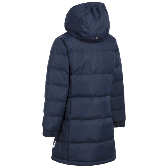 Trespass Girls Padded Jacket with Hood in Navy Tiffy