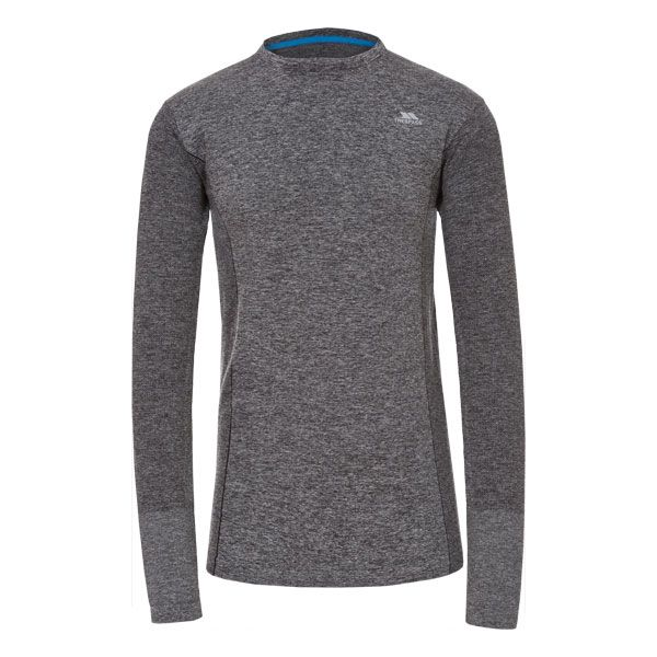 Timo Men's Long Sleeve Active Top in Black, Front view on mannequin