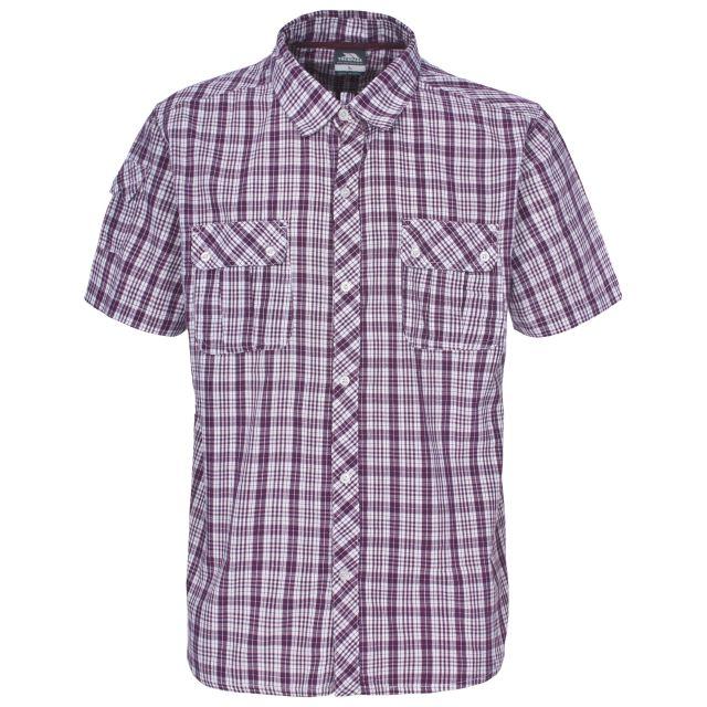 Tolpis Men's Short Sleeve Checked Shirt in Burgundy
