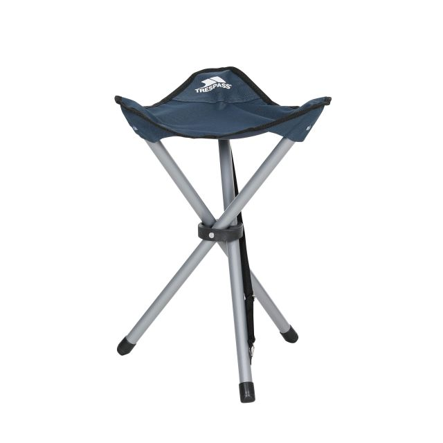 Trespass Fold Up Camping Stool with Carry Bag Tripod Blue, Front view of chair