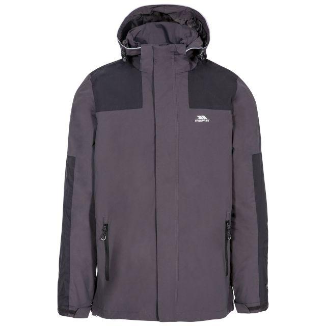 Trolamul Men's Waterproof Jacket in Grey, Front view on mannequin