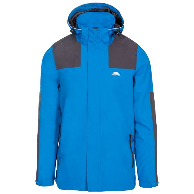 Trolamul Men's Waterproof Jacket in Blue, Front view on mannequin