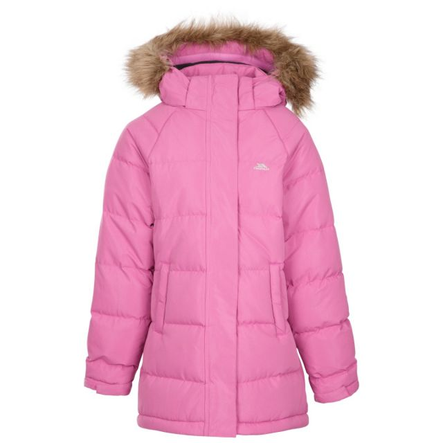 Unique Kids' Water Resistant Padded Jacket Pink, Front view on mannequin