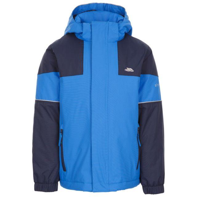 Trespass Kids' Padded Waterproof Jacket Unlock Blue, Front view on mannequin