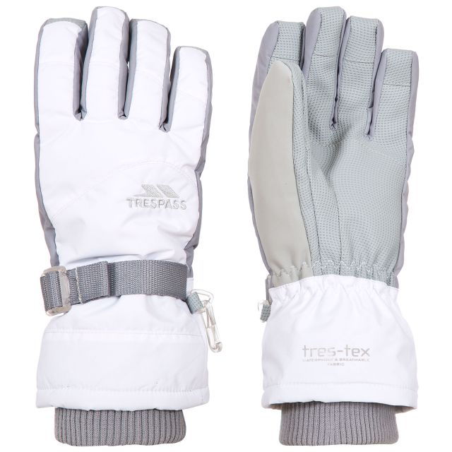Vizza II Kids' Waterproof Ski Gloves in White