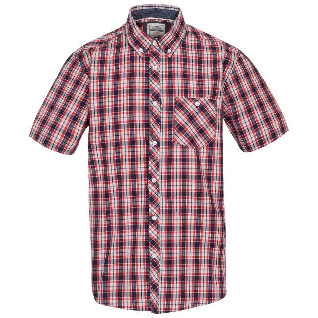 Trespass Mens Checked Shirt Short Sleeved Wackerton Red