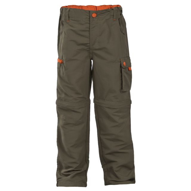 Wayfield Kids' Zip Off Cargo Trousers in Khaki