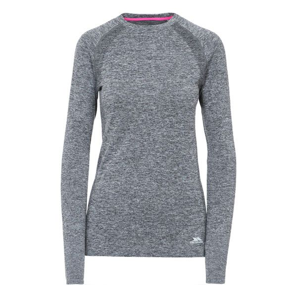 Welina Women's Long Sleeve Active T-Shirt in Black, Front view on mannequin