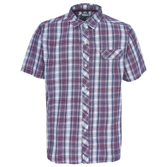 Zamia Men's Short Sleeve Checked Shirt in Burgundy