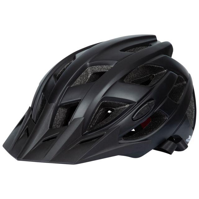 Trespass Adults Lightweight Bike Helmet in Black Zprokit, Hat at angled view