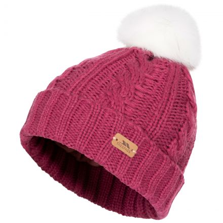 Ashleigh Kids' Fleece Lined Bobble Hat in Red, Hat at angled view