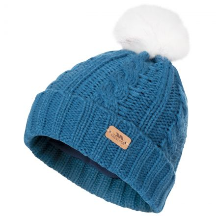 Ashleigh Kids' Fleece Lined Bobble Hat in Blue, Hat at angled view