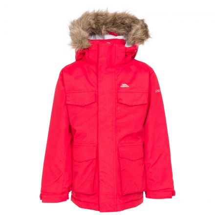 Starrie Kids Padded Waterproof Parka Jacket - RED, Front view on mannequin