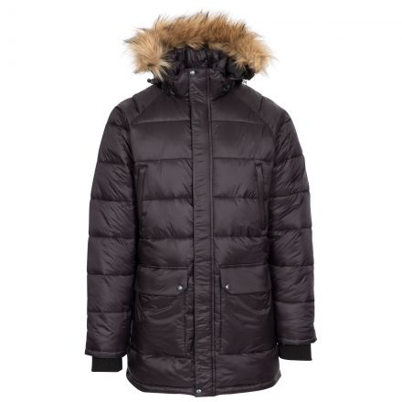 Trespass Mens Parka Jacket Padded Zip Off Hood Waldridgeton Black, Front view on mannequin
