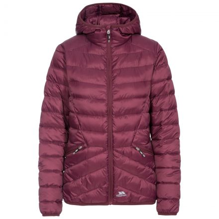 Trespass Womens Padded Jacket Alyssa in Purple, Front view on mannequin