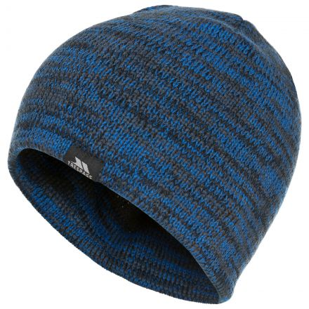 Aneth Marl Beanie in Blue, Hat at angled view