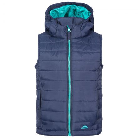 Aretha Kids' Casual Gilet in Navy, Front view on mannequin