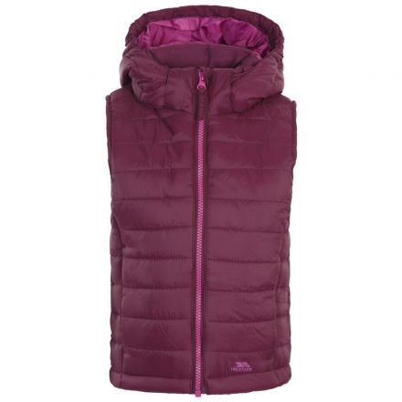 Aretho Kids' Lightly Padded Gilet in Purple, Front view on mannequin
